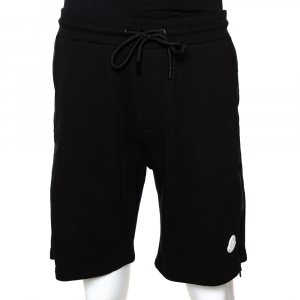 Moncler Black Cotton Knit Zipper Detail Shorts S