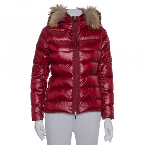 Moncler Burgundy Synthetic Down Fur Lined Hooded Puffer Jacket S - used