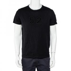 Moncler Black Cotton Applique Detail Crewneck T-Shirt L - used