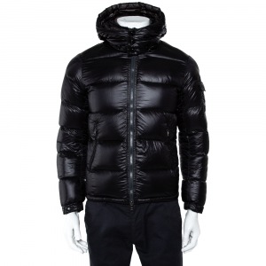 Moncler Black Quilted Synthetic Hooded Zin Jacket XS - used