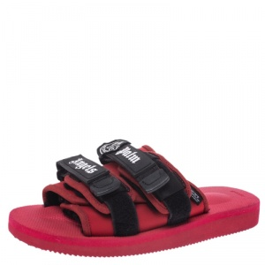 Moncler x Palm Angels x Suicoke Red/Black Fabric And Nylon Moto Slides Size 42