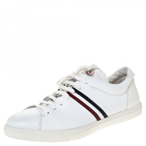 Moncler White Leather Low Top Sneakers Size 45