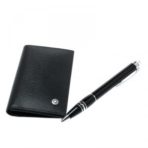 Montblanc Black StarWalker Resin Silver Tone Ballpoint Pen & Westside Business Card Holder Set