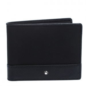 Montblanc Black Leather and Fabric Sartorial Jet 6CC Wallet