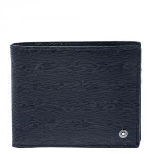 Montblanc Navy Blue Leather Westside Bifold Wallet