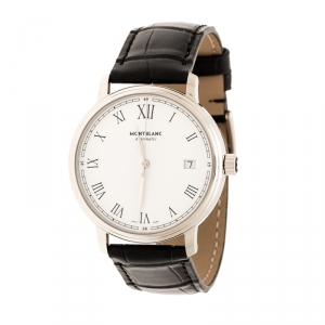 Montblanc White Stainless Steel Tradition 112611 Automatic Men's Watch 36 mm