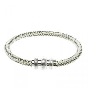 Montblanc White Rubber Silver Tone Woven Magnetic Bracelet