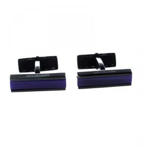 Montblanc Blue Glass Inlay Black PVD Finish Bar Cufflinks