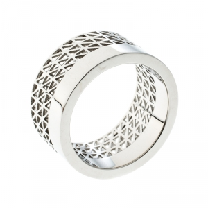 Montblanc Graphic Cutout Steel Skeleton Band Ring Size 62