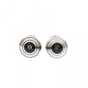 Montblanc Domed Floating Diamond Silver Tone Cufflinks