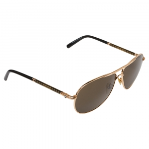 Montblanc Gold Tone/Black MB512S Aviator Sunglasses