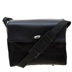 Mont Blanc Black Nylon and Leather NightFlight Messenger Bag