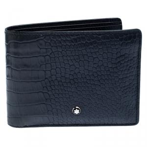Montblanc Blue Croc Embossed Leather Meisterstuck Bifold Wallet