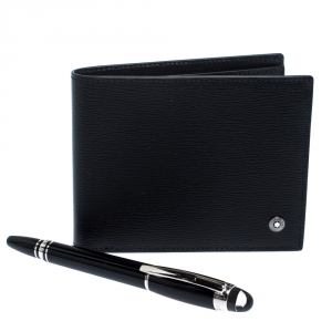 Montblanc Black Leather West Side Bifold Wallet and Montblanc Skywalker Pen Set