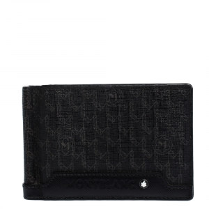 Montblanc Black Signature Coated Canvas and Leather Money Clip Card Holder