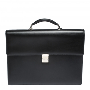 Montblanc Black Leather Meisterstück Double Gusset Briefcase