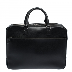 Montblanc Black Leather Sartorial Double Zip Briefcase
