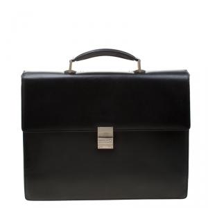 MontBlanc Black Leather Meisterstuck Single Gusset Briefcase