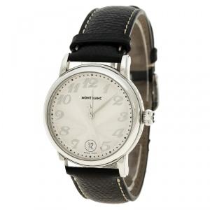 MontBlanc Silver White Stainless Steel Meisterstuck Star 7042 Men's Wristwatch 36 mm