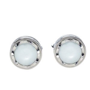 Montegrappa Stainless Steel White Glass Inlay Parola Cufflinks