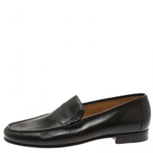 Moreschi Black Leather Penny Loafers Size 41.5