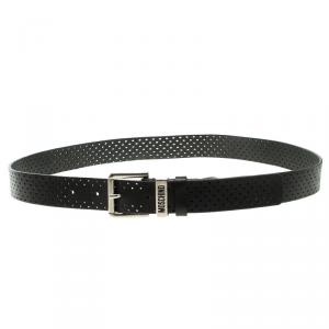 Moschino Black Perforated Leather Belt 120cm
