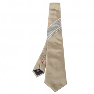 Moschino  Light Brown Diagonal Stripe Detail Silk Tie