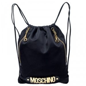 Moschino Black/Gold Logo Nylon Drawstring Backpack