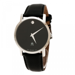 Movado Black Stainless Steel Museum 84 G1 1855 Men's Wristwatch 40 mm