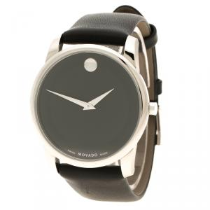 Movado Black Stainless Steel Museum Men's Wristwatch 40 mm
