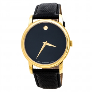 Movado Black Yellow Gold Plated Stainless Steel Museum MO.01.1.34.6002 Men's Wristwatch 38 mm