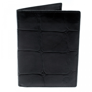 Mulberry Black Croc Embossed Leather Bifold Wallet
