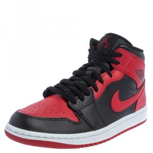 Nike Air Jordan 1 Red/Black Leather Mid Sneakers Size 42