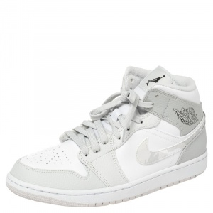 Air Jordan 1 Mid Grey/White Leather Camo Sneakers Size 42.5