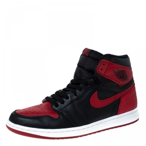 Nike Black And Red Leather Air Jordan 1 Retro High Top Lace Up Sneakers Size 43.5
