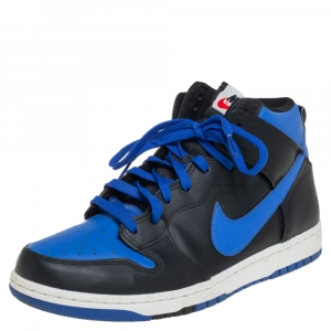 Nike Blue/Black Leather Dunk High CMFT Sneakers Size 41