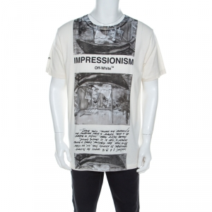 Off-White White Impressionism Print Cotton Short Sleeve T- Shirt L