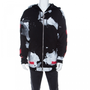 Off-White Multicolor Cotton Liquid Spots Hoodie Sweatshirt S