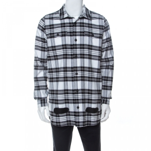 Off White Monochrome Checked Cotton Spray Paint Detail Shirt S