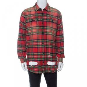 Off White Multicolor Checked Cotton Spray Paint Detail Shirt S