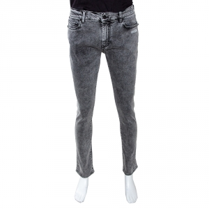 Off White Grey Logo Print Acid Washed Denim Skinny Jeans M