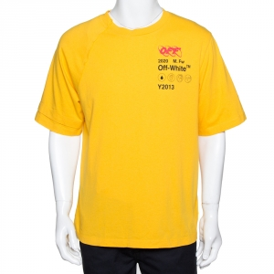 Off-White Yellow Industrial Y013 Print Cotton Crew Neck T-Shirt L
