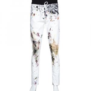 Off-White White Paint Splatter Denim Slim Fit Jeans M -