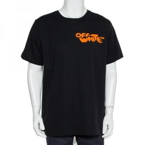 Off-White Black Cotton Bubble Font Print Crewneck T-Shirt XL