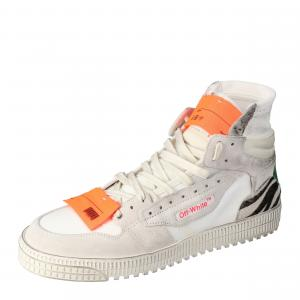 Off White Mix Media High Top Sneakers Size  41