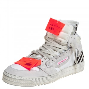 Off-White White Canvas And Leather Off Court 3.0 High Top Sneakers Size 41