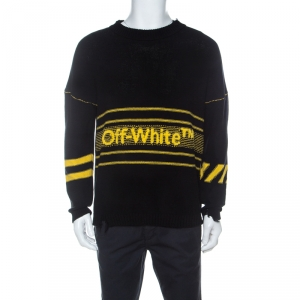 Off White Black Logo Intarsia Knit Cotton Distressed Jumper S
