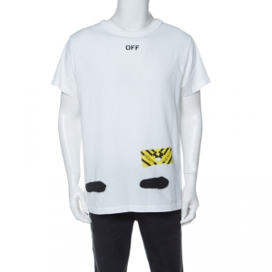 Off White White Spray Stripes Cotton Crew Neck T-Shirt S