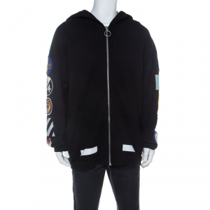 Off White Black Cotton Sleeve Patch Hoodie S