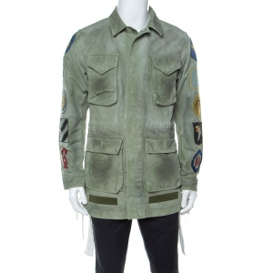 Off White Khaki Green Cotton Worn Out Look Patch Appliqué Field Jacket XS